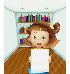 A girl holding an empty paper inside the room vector