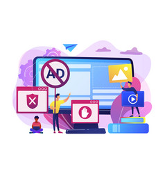 Ad blocking software concept vector