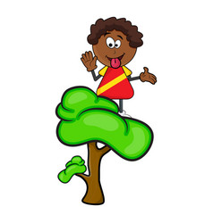 african black boy cartoon showing tongue on tree vector image