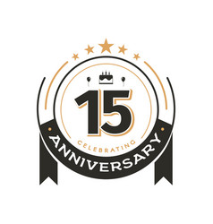 Birtday vintage logo template to 15 th anniversary vector