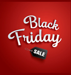 black friday sale banner red background template vector image