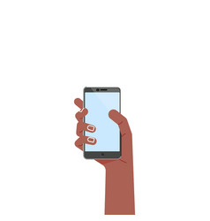 black hand with phone - concept flat vector image