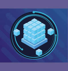 Blue digital technology round icon vector