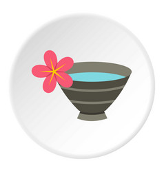 Bowl with water for spa icon circle vector