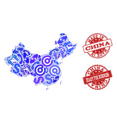 business contacts collage of mosaic map of china vector image