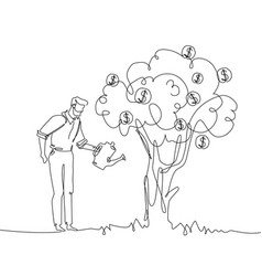 businessman watering money tree - one line design vector image