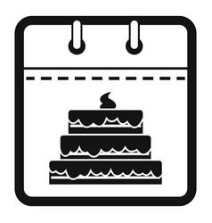 calendar birthday icon simple black style vector image