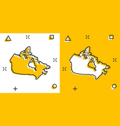 Cartoon colored canada map icon in comic style vector