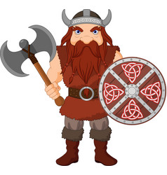cartoon viking with axe and wooden shield vector image