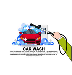 Carwash service icon with cleaning vehicle on car vector