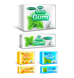 Chewing gum packaging 3d realistic set vector