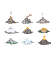 collection of inactive and active volcanoes vector image