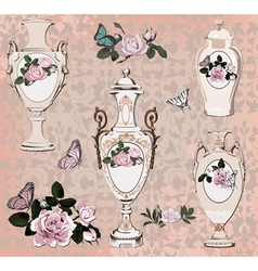 collection of vases roses and butterfly vector image