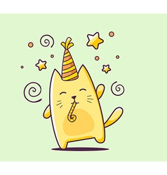 Color happy character cat with hat and bl vector
