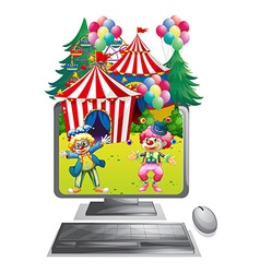 Computer screen with clowns at the circus vector