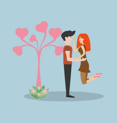 Couple together realtion with cute tree vector