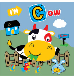 Cow and best friends funny animal cartoon vector