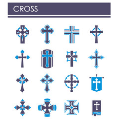 Cross icons set on background for graphic and web vector