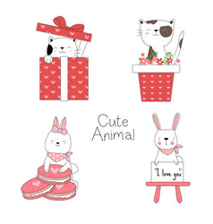 cute baby animals with flower vector image