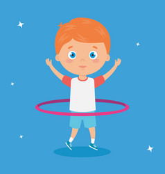Cute little boy playing hula hula isolated icon vector