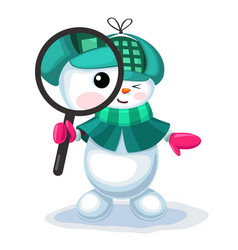 cute snowman looking through a magnifier vector image