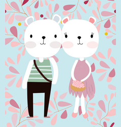 Cute teddy bear couple in pink spring flower vector