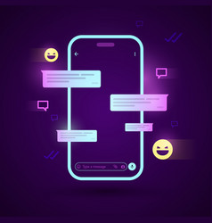 cyber smartphone with chat app vector image
