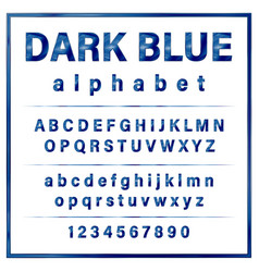 dark blue colored metal chrome alphabet font vector image