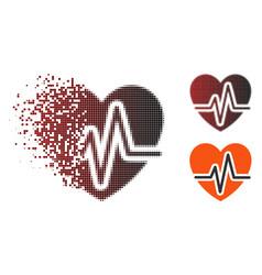 Decomposed pixel halftone heart diagram icon vector