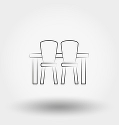 Dining table with chairs vector