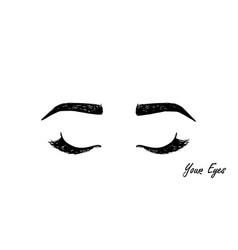 Eyelashes and eyebrows black icon hand drawing vector