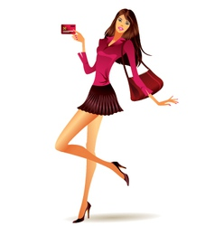 Fashion model shows plastic card vector image