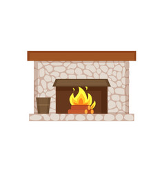 Fireplace of home interior item isolated icon vector