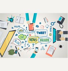 flat design concept for social media vector image