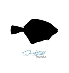Flounder fish silhouette vector