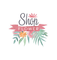 Flower shop colorful logo template with ribbon vector