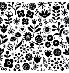 folk floral seamless pattern - hand drawn vector image