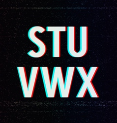 Font with TV Stereo Effect From S to X vector image