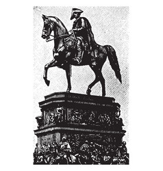 frederick the great riding a horse in this vector image