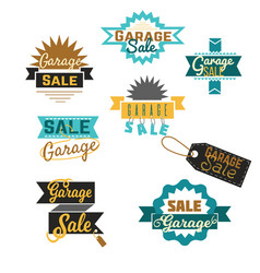 garage sale sign advertising deals set collection vector image