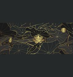 Golden lotus luxury background vector