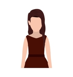 Half body silhouette woman with dress vector