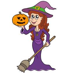 halloween girl wizard vector image