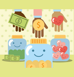 Hands with money heart in jar glass charity vector