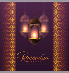 Hanging lanterns and islamic pattern design for vector