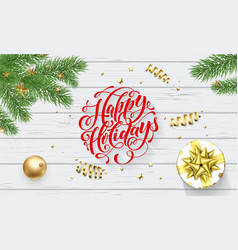happy holidays golden decoration greeting card vector image