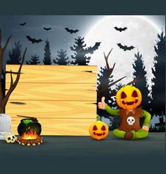 Happy kid wearing pumpkin mask costume sitting bes vector
