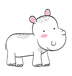 Hippo wild animal cartoon vector