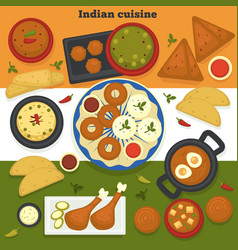 indian cuisine meat and bakery products india food vector image
