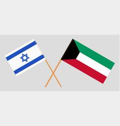 Kuwait and israel kuwaiti and israeli flags vector